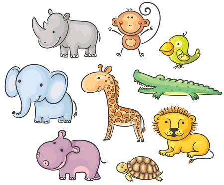 small group of animal: Set of cartoon African animals Illustration