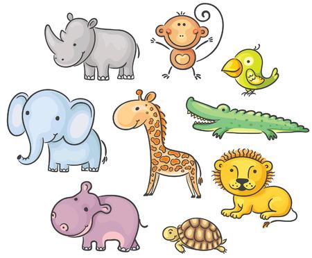 Set of cartoon African animals Ilustração