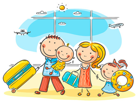 family with two children: Family in the airport with thier luggage Illustration