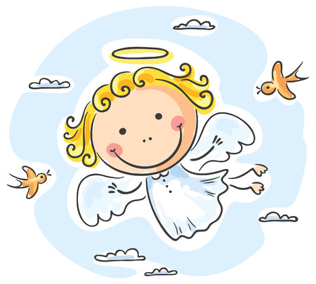 Cute angel flying with two birds Illustration