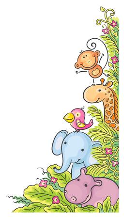 giraffe frame: Corner frame with cartoon African animals