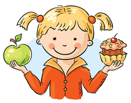 Little girl holding a cake and an apple Vector