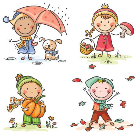 Happy little kids\' autumn activities Stock Illustratie