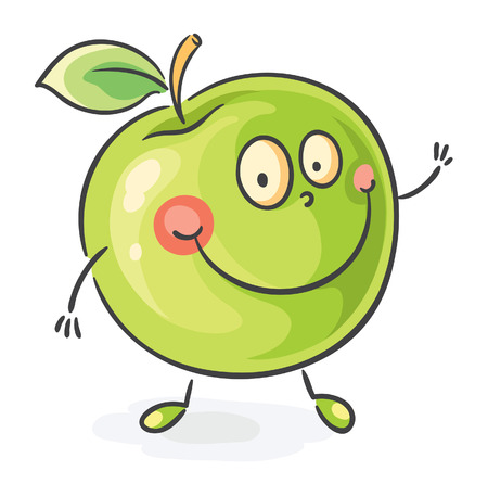 fruit clipart: Smiling cartoon apple with hands and feet Illustration