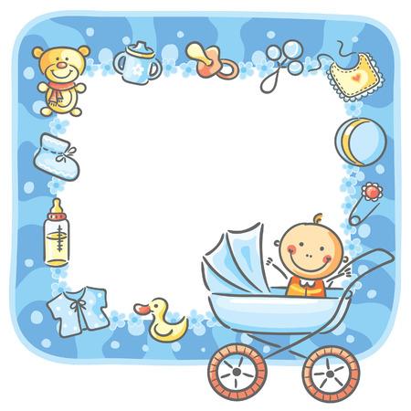 Frame met baby-boy dingen en kopie ruimte Vector Illustratie