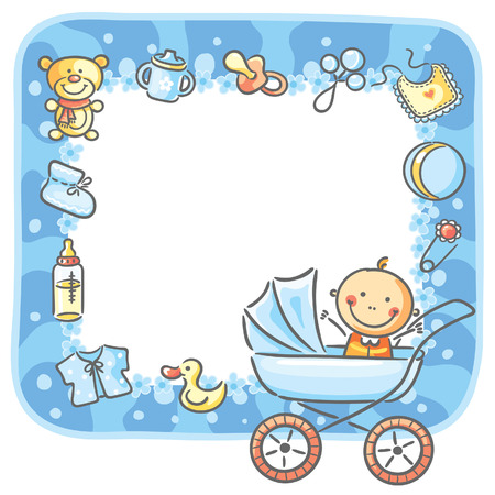 Frame with baby-boy things and copy space Vector