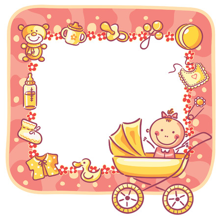 babygirl: Frame with baby-girl things and copy space Illustration