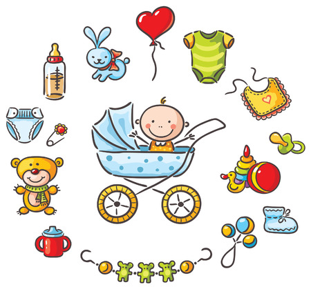 bib: Baby in a baby-carriage with a lot of baby things
