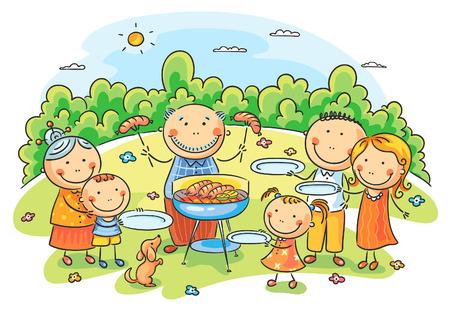 perro familia: Familia grande que tiene al aire libre de la comida campestre Vectores