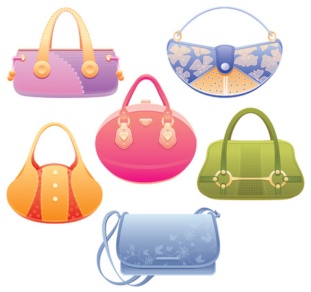 feminity: Set of 6 colorful lady bags.