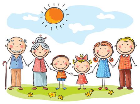 Šťastná rodina se dvěma dětmi a prarodiči