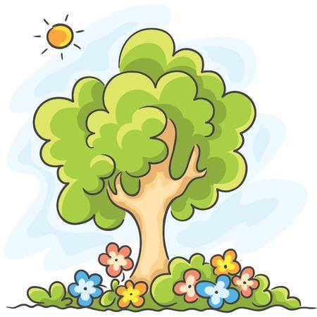 sol caricatura: Gran árbol verde y flores