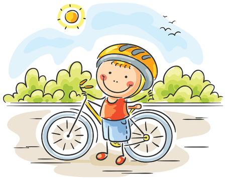cartoon summer: Little boy and his bike