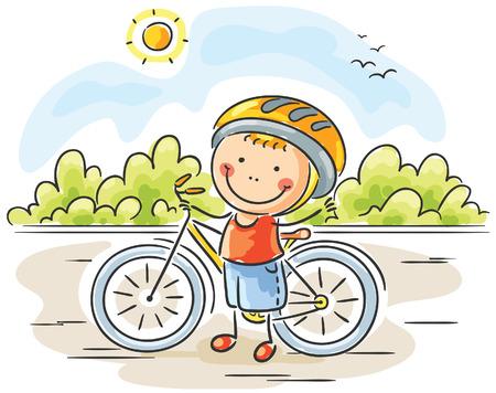 niño: Niño pequeño y su bicicleta