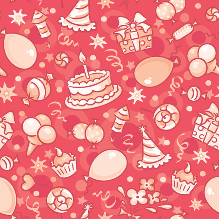 selebration: Seamless birthday party pattern, red