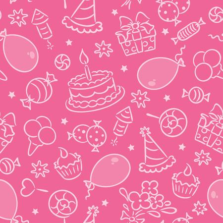 selebration: Seamless birthday party pattern, pink