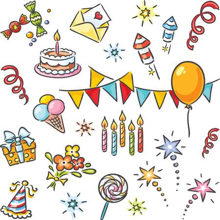 selebration: Cartoon birthday set, no gradients