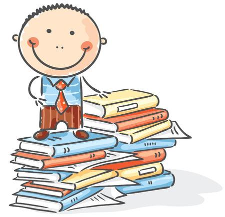 clerk: Cartoon clerk on a pile of books Illustration