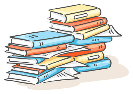 pile of documents: Pile of books or documents Illustration