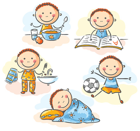 Täglichen Aktivitäten des kleinen Jungen, keine Steigungen