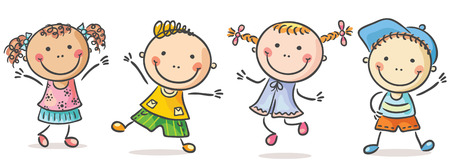 Four happy kids dancing or jumping Vectores