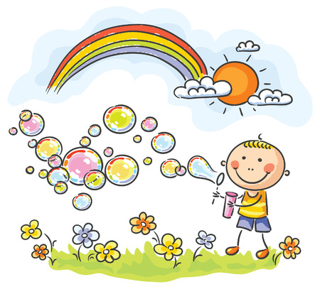 and activities: Child blowing soap bubbles outdoors