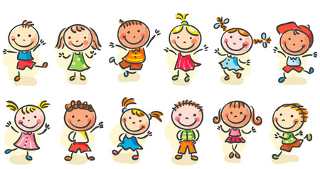 幸せな漫画ジャンプやダンスの大ざっぱな子供