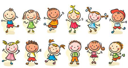 Happy Cartoon skizzen Kinder springen oder tanzen Standard-Bild - 31729524