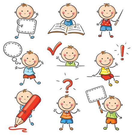 libro caricatura: Un niño con diferentes signos y objetos