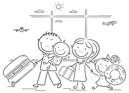 Happy family in the airport with thier luggage Vector