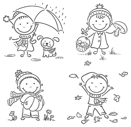 Happy little kids autumn activities Vector
