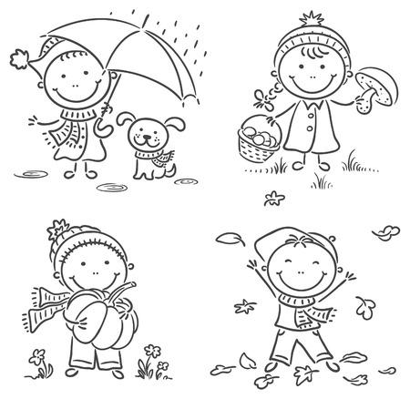 Happy little kids autumn activities Vector