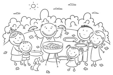 Happy famile having picnic outdoors Vector