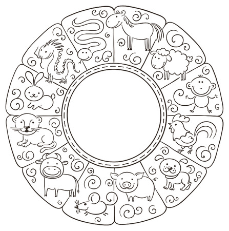 Chinese zodiac signs, no gradients Vector