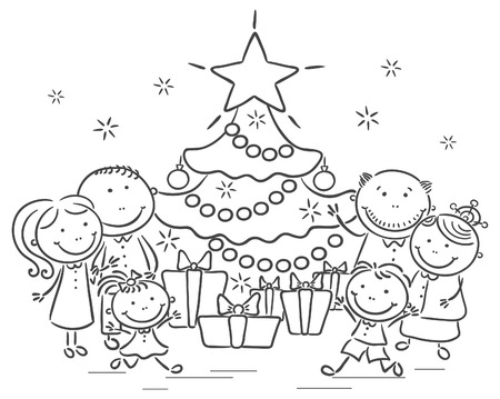 Happy family with a Christmas tree and presents Illustration