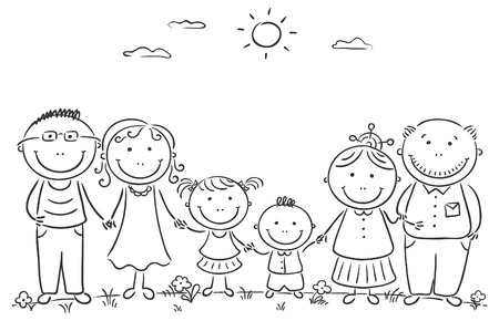 Cartoon famile with two children and grandparents Illustration