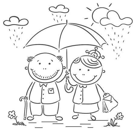 couple in rain: Happy cartoon grandparents, no gradients