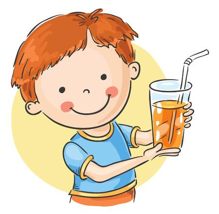 jugos: Chico agradable que ofrece un vaso de jugo de