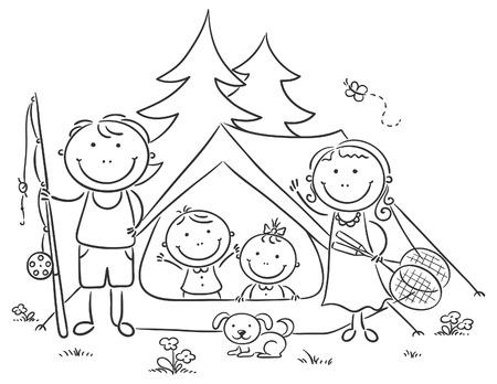 perro familia: Acampar feliz de la familia en el bosque