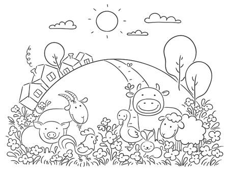 Ovalen Rahmen Mit Tieren Vom Bauernhof, Häuser, Bäume Und Blumen ...