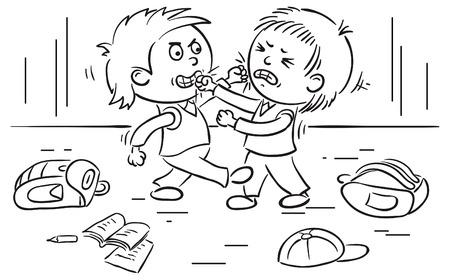 Two schoolboys are fighting, no gradients Vector