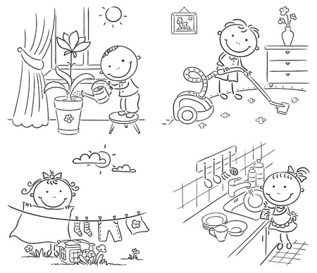 Happy kids helping their parents with the housework Vector