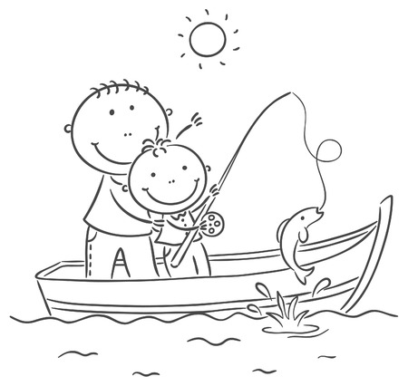 Happy father and son in the boat, fishing Vector