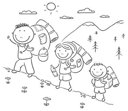 family hiking: Cartoon family hiking in the mountains
