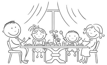 familias unidas: Familia feliz que tiene comida juntos