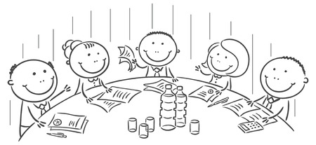 business meeting cartoon: Meeting or conference round the table, no gradients Illustration
