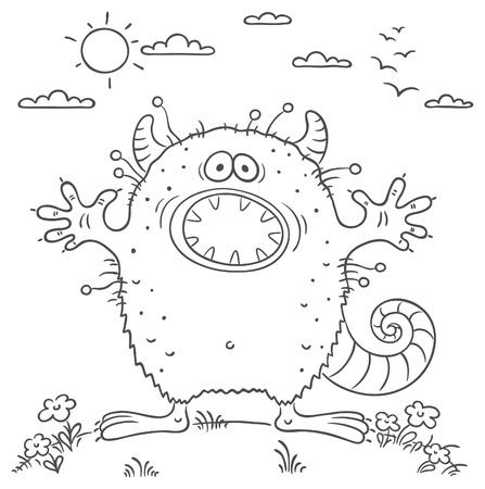 scaring: Scaring cartoon monster, no gradients Illustration