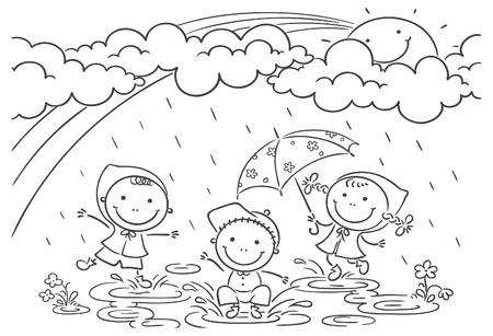 lluvia paraguas: Felices los niños jugando en la lluvia