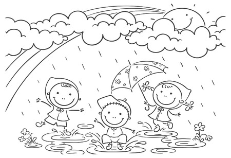 Happy kids playing in the rain Çizim
