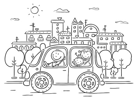 Happy family travelling by car in the city - black and white